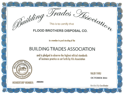 Building Trades Association certificate